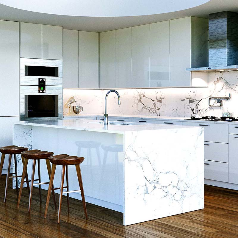 New Contemporary White Kitchen Interior with round second light